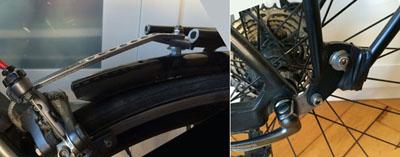 Rear rack mounting on bicycle using brake bolt